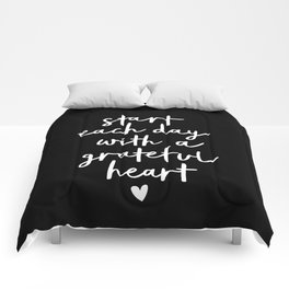 Start Each Day With a Grateful Heart black-white typography poster design modern wall art home decor Comforters