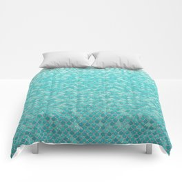Teal Mermaid Scales Comforters