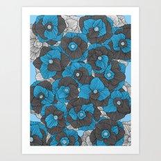 In Bloom (blue & grey) Art Print