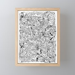 Lots of Bodies Doodle in Black and White Framed Mini Art Print