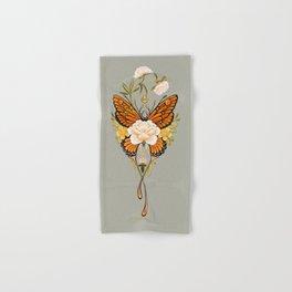Butterfly Peonies Tattoo Hand & Bath Towel