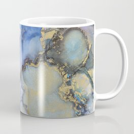 Alcohol Ink Art Handmade Indie Art Painting Blue Teal Gold Coffee Mug