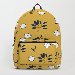 Autumn field lovers cotton balls and leaves botanical garden ochre blue Backpack