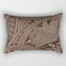 Cocoa Brown Tooled Leather Rectangular Pillow