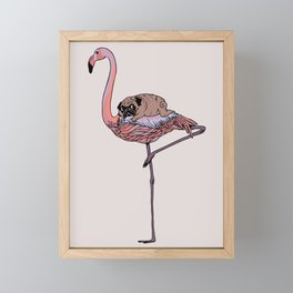 Flamingo and Pug Framed Mini Art Print