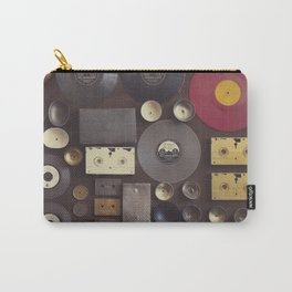 Music. Vintage wall with vinyl records and audio cassettes hung. Carry-All Pouch
