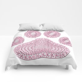 Abstract Pink Ink Dog Paw Print Comforters