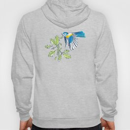 Flying Birds and Oak Leaves on Blue Hoody