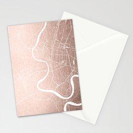Bangkok Thailand Minimal Street Map - Rose Gold Pink and White II Stationery Cards