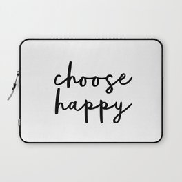 Choose Happy black and white contemporary minimalism typography design home wall decor bedroom Laptop Sleeve