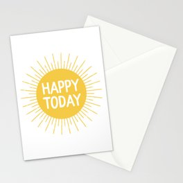 Happy Today - Yellow Sunshine Quote Stationery Cards