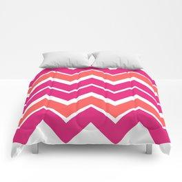 Big Chevron:  Fuchsia + Coral Comforters
