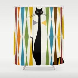 Mid-Century Modern Art Cat 2 Shower Curtain