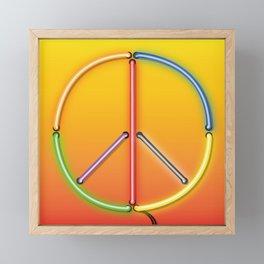PEACE Sign Neon Framed Mini Art Print