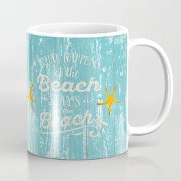 Happy Beach Life- Saying on aqua wood Coffee Mug