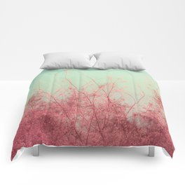 Harmony (Mint Blue Sky, Coral Pink Plants) Comforters