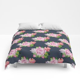 Blush pink blue coral watercolor floral tulips pattern Comforters