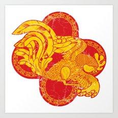 Rooster fire Art Print
