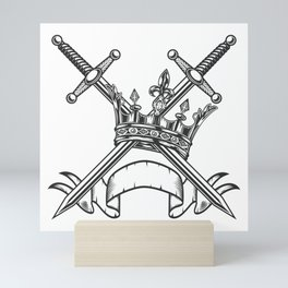 Vintage Print Royal Crown with Swords and Ribbon Monochrome Style. Black and White Mini Art Print