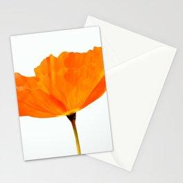 One And Only - Orange Poppy White Background #decor #society6#buyart Stationery Cards