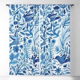 Birds in Blue Blackout Curtain