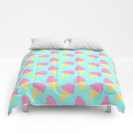 Pink Ice Cream on Blue Comforters