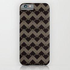 Taupe Geometric Art Deco Chevron Pattern iPhone 6s Slim Case