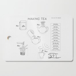 Making Tea Blueprint Cutting Board