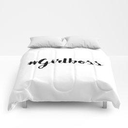 #Girlboss Minimalist Motivational Quote Comforters