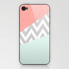 mint & coral chevron block TEXTURIZED iPhone & iPod Skin