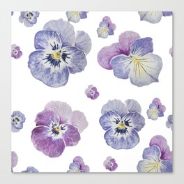 Watercolor Pansy Pattern Canvas Print