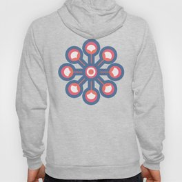 Retro flower buds / Brittany Blue and Living Coral Hoody
