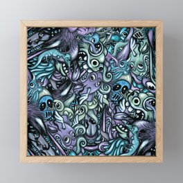Doodle Pattern Blue Framed Mini Art Print