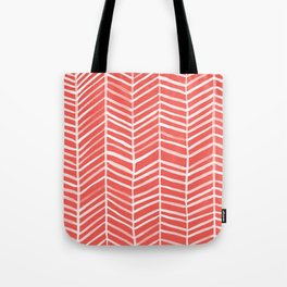 Coral Herringbone Tote Bag
