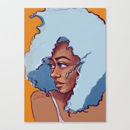 Blue Haired Bombshell Canvas Print