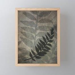 Pantone Hazelnut Abstract Grunge with Fern Leaf - Foliage Silhouettes Framed Mini Art Print