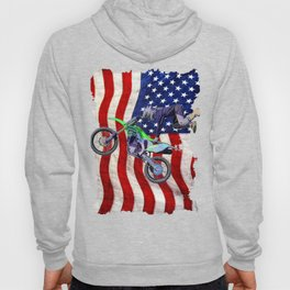 High Flying Freestyle Motocross Rider & US Flag Hoody