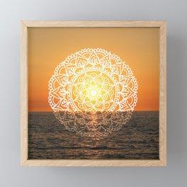 Fiery Orange Sunset Mandala Framed Mini Art Print