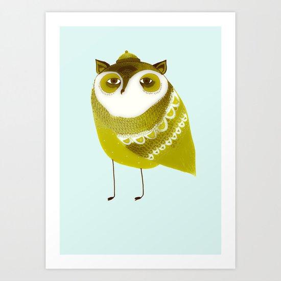 Golden Owl illustration  Art Print