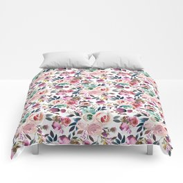 Hand painted blush pink purple watercolor floral Comforters