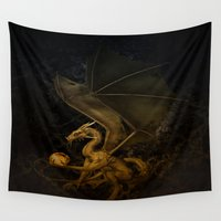 dragon Wall Tapestries featuring dragon by karens designs