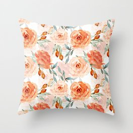 Living Coral Autumnal Roses Throw Pillow