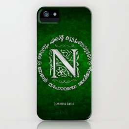 Joshua 24:15 - (Silver on Green) Monogram N iPhone Case
