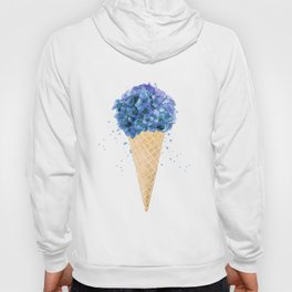 Hydrangea flower ice cream cone watercolor Hoody