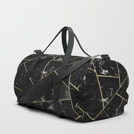 Black Marble Gold Geometric Glam #1 #geo #decor #art #society6 Duffle Bag