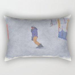 Sliding into Home - Winter Snowboarder Rectangular Pillow