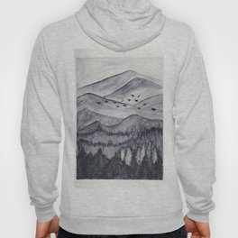 Forest Mountain Range Birds Flying Past Watercolor Painting Hoody