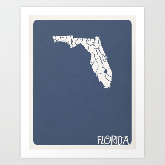 Florida Minimalist Vintage Map Art Print