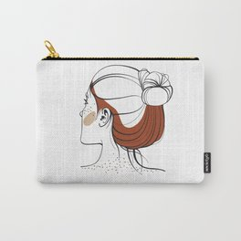 Red-haired woman with freckles. View from the back. Abstract face. Fashion illustration Carry-All Pouch