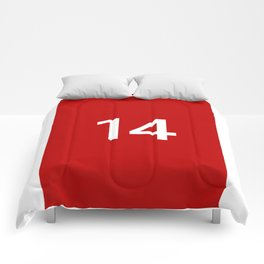 Legendary No. 14 in red and white Comforters